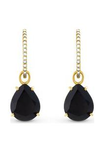 Brinco Ouro Amarelo Quartzos Negros E Diamantes