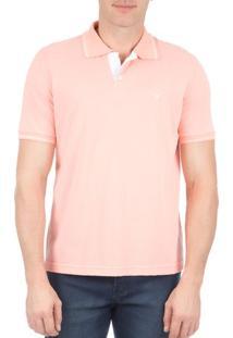 Camisa Polo Masculina Rosa Lisa Com Detalhe - P
