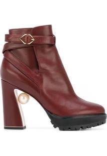 Nicholas Kirkwood Ankle Boot De Couro Com Fivela - Vermelho