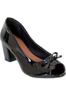 Sapato Peep Toe Em Verniz Preto
