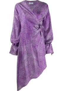 Art Dealer Abstract Dot-Print Satin Wrap Dress - Roxo