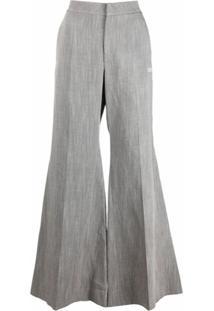 Off-White Calça Pantalona Drapeada Com Detalhe De Amarração - Cinza