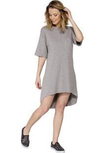 Vestido Mullet Detalhe Bolso Han - Feminino-Cinza