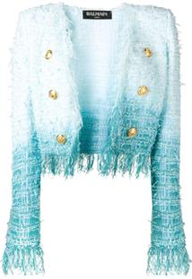 Balmain Jaqueta Tie Dye De Tweed - Azul