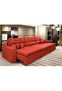 Sofá Cairo 3,52M Retrátil Reclinável, Molas No Assento, 6 Almofadas Tecido Suede Vermelho Cama Inbox