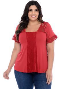 Blusa Plus Size Forma Rara Decote Reto Renda Vermelha