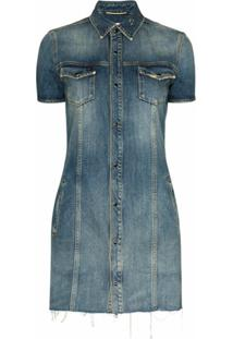 Saint Laurent Vestido Jeans Destroyed - Azul