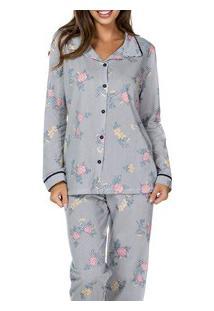 Pijama Longo Aberto Floral Lua Cheia (9356) 100% Algodão