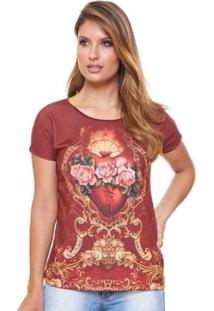 Blusa Sagrado Coração Dve4276 Ágape Feminina - Feminino-Vermelho