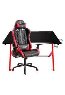 Cadeira Gamer Husky Gaming Hailstorm, Black Red - Hha-Br + Mesa Gamer Nitro Concepts D12, Black/Red - Nc-Gp-Dk-010
