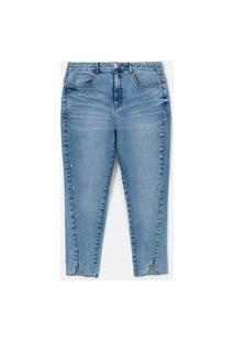 Calça Skinny Jeans Com Tachas E Abertura Na Barra Azul