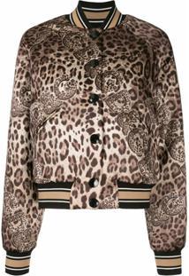 Dolce & Gabbana Jaqueta Bomber Com Estampa De Leopardo - Marrom