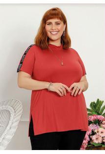 Blusa Plus Size Telha Com Fendas