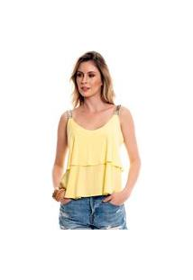 Blusa Bisô Alça Bordada Amarela