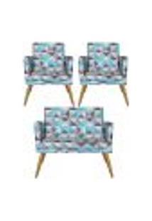 Conjunto Namoradeira Decorativa E 2 Poltronas Com Rodapé Nina Triângulo Azul