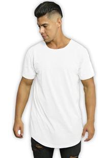 Camiseta Swag Di Nuevo Longa Barra Alongada Lisa Branca