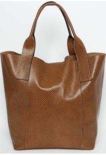 Bolsa Shopper Em Couro Croco- Marrom Claro- 34,8X38,Griffazzi