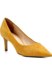 Scarpin Shoestock Salto Médio Camurça - Feminino-Amarelo