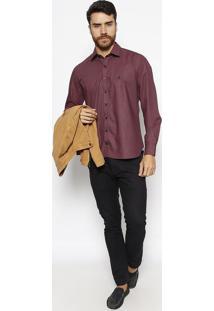 Camisa Slim Fit Com Bordado- Vermelha & Azul Marinhovip Reserva