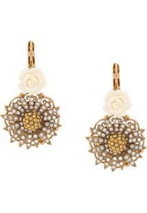 Dolce & Gabbana Par De Brincos Florais Com Cristais - Dourado