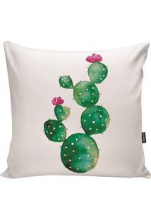 Capa Para Almofada Impermeável Cactus- Branca & Verde