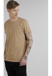 Camiseta Masculina Básica Listrada Manga Curta Gola Careca Caramelo