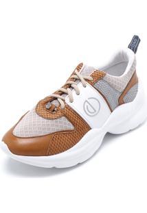 dfc2bf637 ... Tênis Couro Dumond Dad Sneaker Chunky Branco/Caramelo