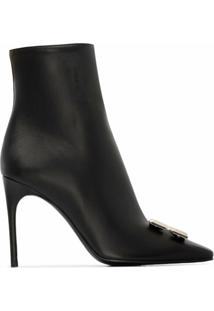 Off-White Ankle Boot Com Placa De Logo - Preto