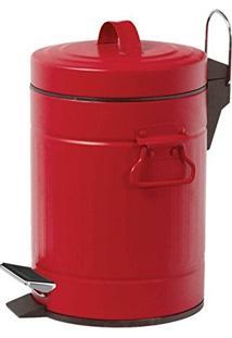 Lixeira Inox Retro Vermelha C/Pedal 5 Litros - Art House