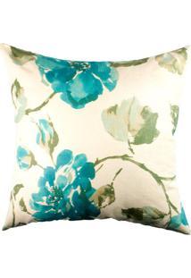 Capa De Almofada Floral- Off White & Azul Turquesa- Stm Home