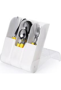 Porta Talher Plástico Com 3 Compartimentos Cozinha Branco