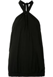 A.Brand Blusa De Seda Frente Única - Preto