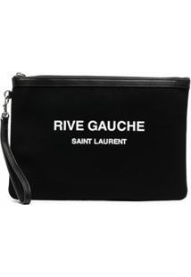 Saint Laurent Clutch Com Estampa De Logo - Preto