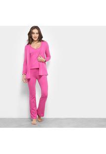 Conjunto Pijama Flora Zuu 3 Peças Feminino - Feminino-Rosa