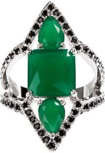 Anel Prin The Ring Boutique Pedras Cristais Verde Esmeralda Ródio Ouro Branco
