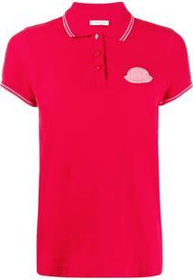 Moncler Camisa Polo Com Placa De Logo - Vermelho