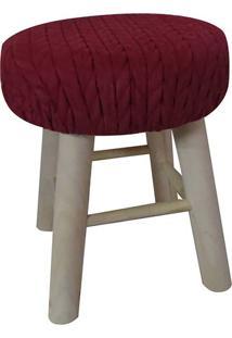 Puff Texturizado- Vermelho Escuro- 38Xø30Cm- Urburban