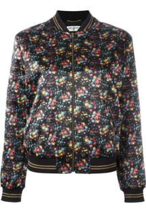 Saint Laurent Jaqueta Com Estampa Floral - 8523 Black/Multi