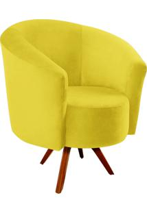 Poltrona Decorativa Angel Suede Amarelo Com Base Giratória Madeira - D'Rossi