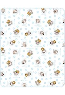 Cobertor Incomfral Cebolinha E Cascão Para Bebê 70 X 90Cm Branco/Azul
