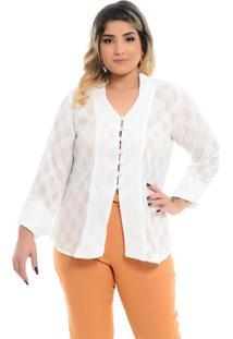 Camisa Alfaiataria Branca Plus Size