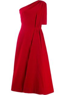 Emilia Wickstead Vestido Midi Zena Ombro Único - Vermelho