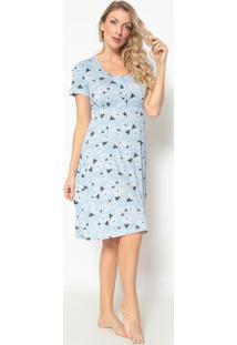 Camisola Floral Com Franzido- Azul & Branca- Jogãªjogãª
