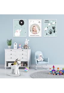 Quadro 40X90Cm Infantil Lembrança Bebê Menino Moldura Preta Sem Vidro Decorativo