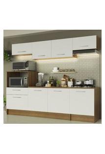 Cozinha Completa Madesa Onix 240001 Com Armário E Balcáo - Rustic/Branco Marrom