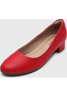 Scarpin Piccadilly Salto Grosso Vermelha