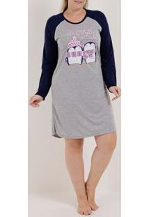 Camisola Plus Size Feminina Cinza/Azul