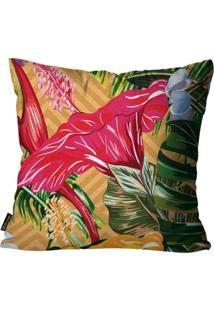 Capa Para Almofada Premium Peluciada Mdecore Floral Colorido 45X45Cm Laranja