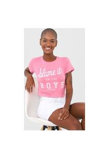 Camiseta Cropped Aeropostale Blame It Rosa