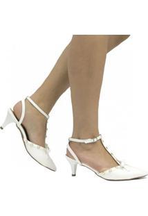 Scarpin Zariff Shoes Chanel Laço Feminino - Feminino-Branco